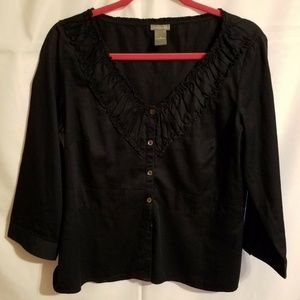 Ann Taylor SZ14 Navy Blue Blouse Button Down